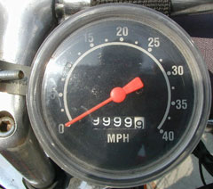 Speedometer of Cyclone with 9999.9 miles displayed